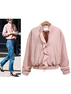 Pink Bomber Jacket Round Neck Long Sleeve Ruffles Slim Fit Short Jackets For Women