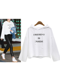 White Pullover Hoodie Hooded Long Sleeve Letters Print Short Sweatshirt For Women