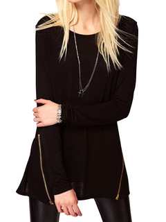 Black T Shirt Round Neck Long Sleeve Zipper Women's Top