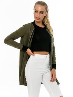 Hunter Green Jacket Round Neck Long Sleeve Slim Fit Women's Jackets