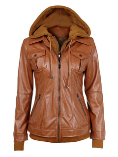 Brown Moto Jacket Hooded Long Sleeve PU Fake Two-Piece Style Women's Jackets