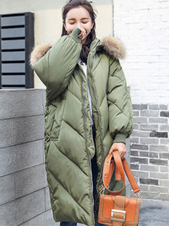 Winter Quilted Jacket Faux Fur Hooded Long Sleeve Hunter Green Padded Coat For Women
