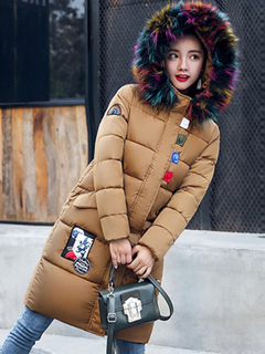 Winter Quilted Jacket Faux Fur Hooded Long Sleeve Slim Fit Winter Padded Coat For Women