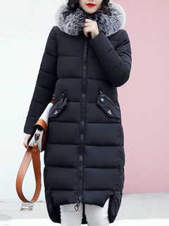 Black Winter Coat Hooded Long Sleeve Faux Fur Quilted Jacket For Women