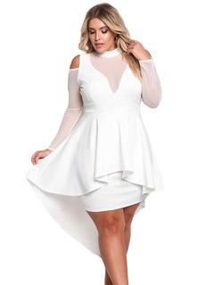 Plus Size Dress Round Neck Long Sleeve Cold Shoulder Semi Sheer High Low Skater Dresses For Women