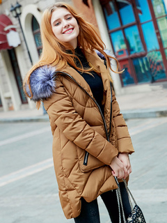 Women's Puffer Jacket Light Brown Hooded Long Sleeve High Low Winter Quilted Jackets