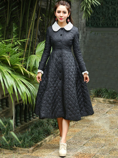 Black Quilted Jacket Long Sleeve Peter Pan Collar Shaping A Line Vintage Padded Coat For Women