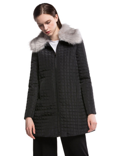 Black Quilted Jacket Long Sleeve Turndown Collar Faux Fur Padded Coat For Women