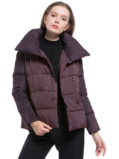 Purple Quilted Jacket Long Sleeve Turndown Collar Two Tone Padded Coat For Women