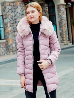 Women's Quilted Jacket Hooded Long Sleeve Faux Fur Soft Pink Winter Coat
