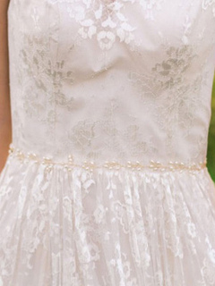 White Wedding Sash Imitation Pearls Alloy Bridal Accessories