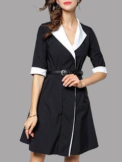 Black Skater Dress Turndown Collar Half Sleeve Two Tone Women's Flare Dress With Belt
