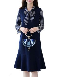 Women's Shift Dress Bowknot Neckline Long Sleeve Striped Dark Navy Mermaid Dress