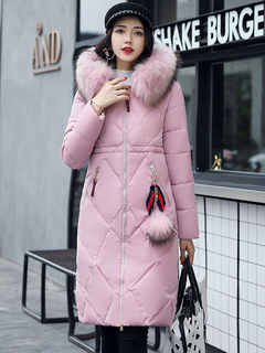 Pink Quilted Jacket Hooded Long Sleeve Faux Fur Pom Poms Winter Padded Coat For Women