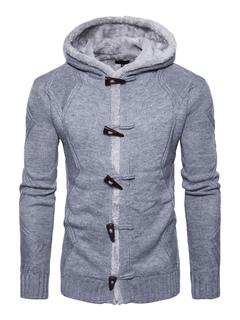 Light Grey Cardigan Hooded Long Sleeve Regular Fit Knit Jacket For Men