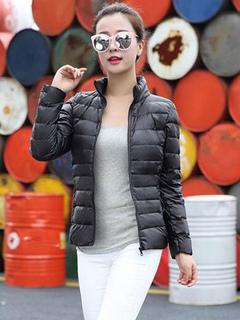 Black Down Jacket Long Sleeve High Collar Women Winter Puffer Jacket