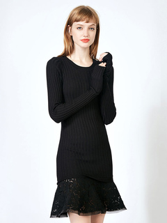 Black Knit Dress Lace Ruffle Long Sleeve Women Spring Dress