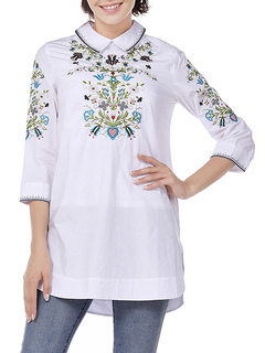 White Casual Shirt Long Sleeve Embroidered Turndown Collar Blouses For Women