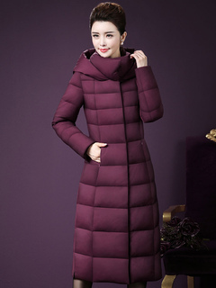Burgundy Quilted Jacket Hooded Long Sleeve Winter Coat For Women