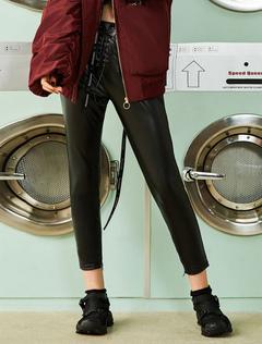 Black Leather Leggings Women Lace Up Drawstring Skinny Long Leggings