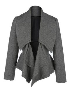 Women Blazer Jacket Grey Long Sleeve Turndown Collar Short Tweed Coat