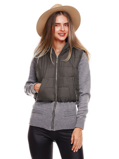 Women Quilted Jacket Sweater Hooded Long Sleeve Patchwork Fake Two-Piece Style Grey Winter Coat