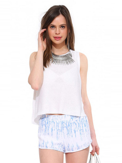 White Tank Top Round Neck Sleeveless High Low Knit Top For Women