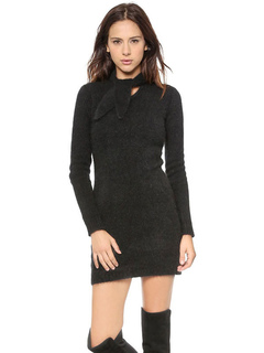 Black Sweater Dress Long Sleeve Knotted Knit Bodycon Dress For Women