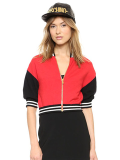 Red Varsity Jacket Half Sleeve Stand Collar Short Knit Jacket For Women