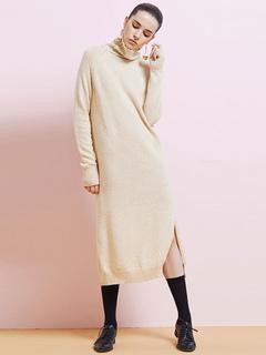 Long Sweater Dress Split Apricot Turtleneck Knit Dress For Women