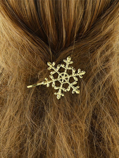 Women's Golden Hairpin Snowflake Design Embossed Alloy Hair Clip