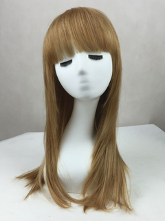 Women Blonde Wig Layered Straight Blunt Bang Long Human Hair Wig