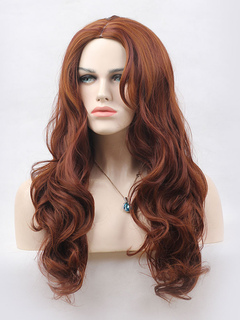 Curly Long Wig Central Parting Full Volume Curls Tousled Tan Wig