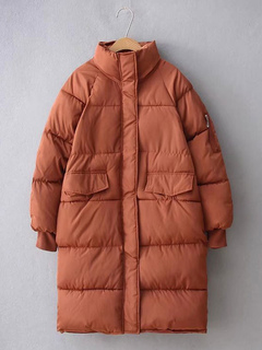 Women Quilted Jacket Long Sleeve Stand Collar Brown Winter Padded Coat