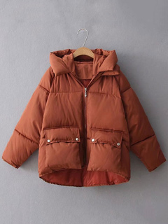 Women Quilted Jacket Hooded Long Sleeve Deep Brown Winter Coat