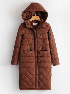 Women Quilted Jacket Long Sleeve Hooded Deep Brown Winter Padded Coat