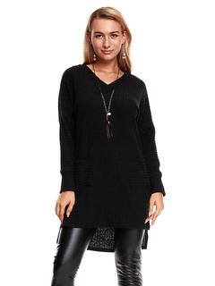 Knit Sweater Dress Black Long Sleeve V Neck Split High Low Women Shift Dress