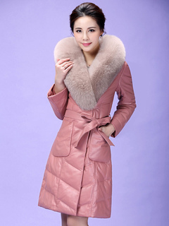 Women Quilted Jacket Faux Fur Collar Long Sleeve V Neck Pink Wrap Winter Coat