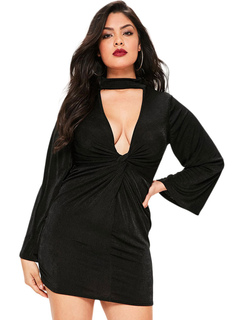 Plus Size Dress Black Plunging Neck Long Sleeve Twisted Mini Dress For Women