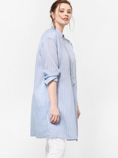 Plus Size Blouses Round Neck Long Sleeve Striped Blue Shirt Dress For Women