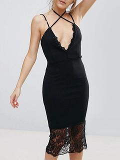 Party Dresses Black Straps Sleeveless Lace Patchwork Women Bodycon Dress