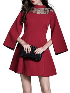 Women Mini Dress Round Neck Long Sleeve Split Brick Red Short Dresses