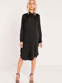 Black Shirt Dress Women Long Sleeve Turndown Collar Embroidered Shift Dress