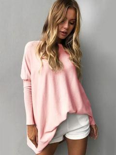 T Shirt Pink Long Sleeve Round Neck Women Top