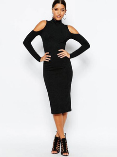 Knit Sweater Dress Black Long Sleeve High Collar Cold Shoulder Bodycon Dress For Women