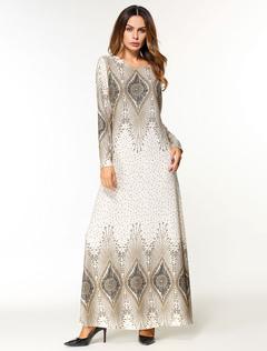 Maxi Kaftan Dress Women Tunic Dress Long Sleeve Printed Oversized Jalabiya Dress