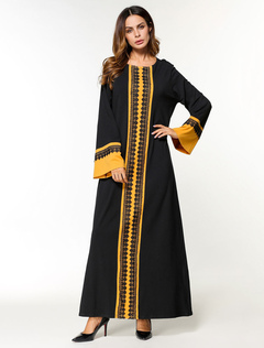 Black Abaya Dress Muslim Long Sleeve Two Tone Oversized Maxi Dress