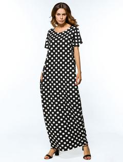 Maxi Kaftan Dress Black Polka Dot Women Short Sleeve Oversized Tunic Dress