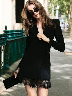 Party Dresses Black Long Sleeve Plunging Neck Fringe Women Bodycon Dress