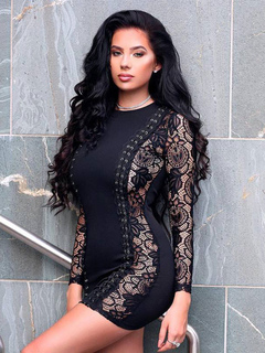 Black Party Dresses Lace Long Sleeve Round Neck Criss Cross Sexy Bodycon Dress For Women